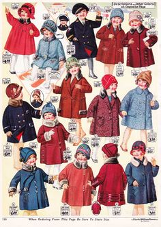 Girls Winter Coats from a 1927 catalog #vintage #1920s #fashion