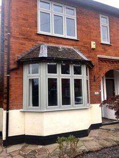 Double glazed windows and doors Nottingham Derby Leicester Grey Window Frames, Grey Windows, Porch Windows, Cottage Windows, Casement Windows, House Windows, Windows And Doors, Coloured Upvc Windows, Front Doors