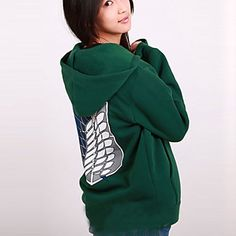 Inspired by Attack on Titan Mikasa Ackermann Anime Cosplay Costumes Cosplay Hoodies Print Green Long Sleeve Coat - EUR € 25.47