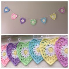 Crochet bunting in pretty pastel colours