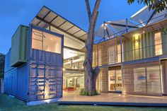 """Architect Maria Jose Trejos has successfully designed a home constructed from eight large shipping containers, which she has named, """"Casa Incubo."""" A central, two-story component serves as a home base..."""