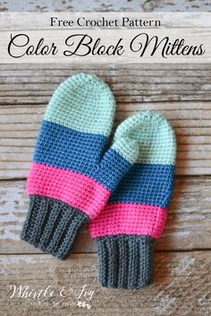 FREE Crochet Pattern: Crochet Color Block Mittens   These cozy and trendy mittens are made easily with 3 blocks of bright color.