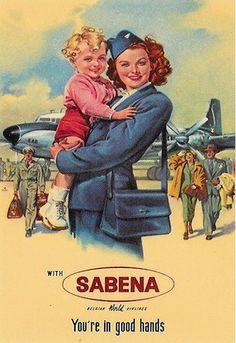 Vintage SABENA Stewardess Picture