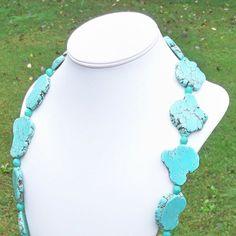 Vander  Long Chunky Sea Green Turquoise Freeform Nugget by Tessyla, $185.00