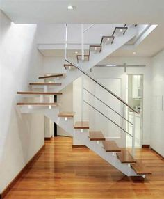 Inventive Staircase Design Tips for the Home – Voyage Afield House Outer Design, Modern House Design, Modern Interior Design, Open Staircase, Staircase Railings, Home Stairs Design, Interior Stairs, Metal Building Homes, Building A House