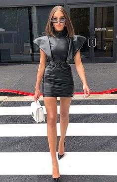Olivia Culpo wearing Zeynep Arcay Bold Shoulder Dress, Christian Louboutin So Kate Pumps, Maria Black Hoop 8 Earrings in Silver, Saint Laurent Medium Bellechasse Bag and Poppy Lissiman Le Skinny Sunglasses Edgy Outfits, Mode Outfits, Classy Outfits, Fashion Mode, Look Fashion, Womens Fashion, Fashion Trends, Fashion Black, Fashion Styles