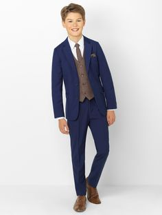 Shop boys navy & brown suit Monaco at Roco. Boys navy wedding suit with free UK delivery & 30 day returns. Kids Wedding Suits, Wedding Outfit For Boys, Wedding Dresses, Boys Navy Suit, Navy Suits, Women's Suits, Boys First Communion Outfit, Communion Suits For Boys, Suit Combinations