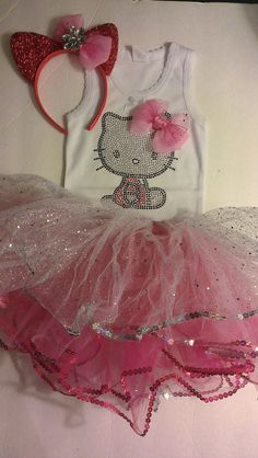 Hello Kitty 2nd Bday??? 3 pc Hello Kitty Tutu costume and Pink Studded by LITTLETREASURE4U, $24.50