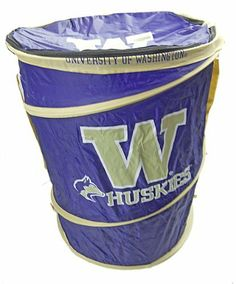 """University of Washington Huskies Pop-up Hamper by University of Washington Huskies. $29.99. Officially Licensed Collegiate NCAA product - Features official team colors and logo. Collpases for easy storage and portability and has easy to use toggle straps. Made of 100% Nylon, easy to clean. Huge capacity for multiple uses. When upright measures: 23""""in height and 17"""" in diameter. Decorate your dorm room, store your dirty laundry, or just show your collegiate pride using ..."""