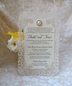 Brooch Laser Cut Wedding Invitations - Couture Bling Invites - Custom Handmade Invitation
