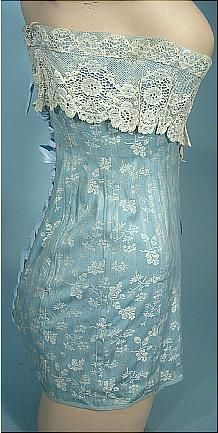 c. 1908-1914, Au Royal Corset, Madrid Light Blue Embroidered Corset with White Lace (side)