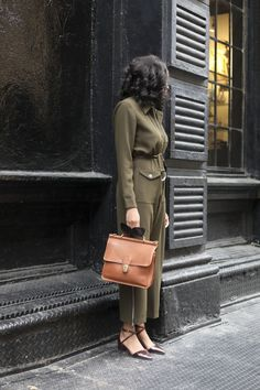 Olive Jumper - Vintage Coach Bag