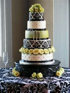 """Green and black flower wedding cake. We can help achieve this look at Dallas Foam with cake dummies, cupcake stands and cakeboards. Just use """"2015pinterest"""" as the item code and receive 10% off your first order @ www.dallas-foam.com. Like us on Facebook for more discount offers!"""