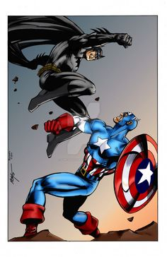 Art by MC Wyman Colors by me. Batman is owned by DC Comics Captain America is owned by Marvel Comics colo. Batman vs Captain America by MC Wyman Batman Universe, Comics Universe, Batman Vs Captain America, Marvel Vs, Marvel Comics, Comic Books Art, Comic Art, Book Art, Marvel And Dc Crossover
