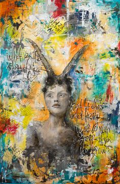 """Kelly Thiel Studio, """"Stronger Than You Think"""", mixed media on panel, 24""""x36"""", image transfer"""