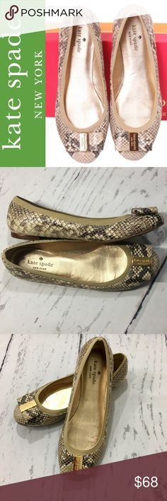 Kate Spade Snake Skin Tock Flats ✔️Very Gently Worn...Nearly New! ✔️Size 7.5 ✔️No Box or Dust Bag kate spade Shoes