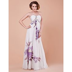 A Line Spaghetti Straps Floor Length Chiffon Mother Of The Bride Dress USD