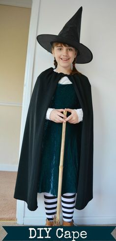 Worst Witch Costume DIY Cape - whip up a cape from a former skirt, super quick and easy