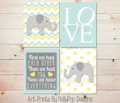 Elephant Nursery Art First We Had Each Other by HollyPopDesigns