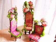 Floral inspired ooak Fairy Chairs .https://www.etsy.com/shop/maryfontones