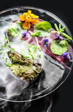 Gaggan's grilled free-range lamb chops with almond saffron oil. Saffron Oil, Cooking Recipes, Healthy Recipes, Lamb Chops, Molecular Gastronomy, Food Presentation, Food Plating, Food Styling, Food Photography
