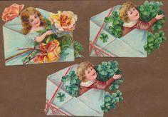 S10413 Victorian Die Cut Scraps: 3 Children & Flowers in Envelopes | eBay