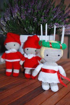 Crochet swedish Lucia, virkad Lucia och tomtar