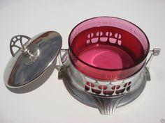 1910-1920 GERMAN ART NOUVEAU WMF SILVER PLATED BOX ETCHED CRANBERRY GLASS INSERT #German #Nouveau #WMF #Silver Plated #Cranberry glass insert #Box