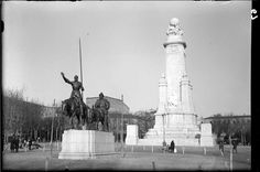 Imágenes del viejo Madrid. Monumento al Quijote en plaza de España.  Década de 1930.