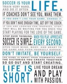 @Mackenzie Schmidt  - Soccer Is My Life We should print and frame for your room.