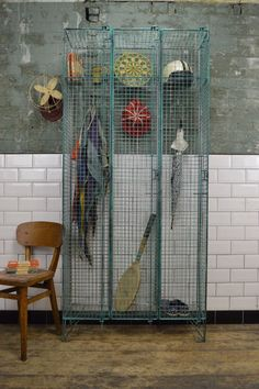 Vintage Industrial Metal Wire Mesh Triple Locker Cabinet | LOVELITTER
