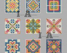 Patrón de punto de cruz moderno, escandinavo flor de punto de cruz, Costura noruego, moderna de la flor, gráfico, modelo geométrico de punto de cruz