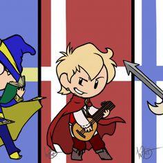 Webcomic fanart: Left to right: Yarwon (Norway), Wendes (Sweden), Kendram (Denmark), Faldinn (Finland), and Cinadel (Iceland) Satw Comic, Hetalia, Finland, Denmark, Norway, Funny Countries, Fan Art, Comics, Sweden