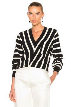 Image 1 of Chloe Sailor Stripe V-Neck Sweater in Black