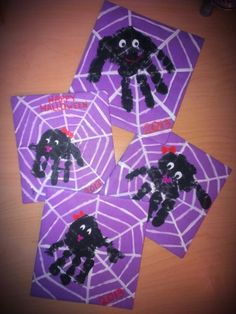 Halloween craft! Draw/paint on the web and let kids make a black spider handprint! Add personality to each spider with a face! Made by Logan, Layla, Lynlee & Aubree.