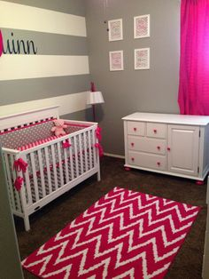 Pink and grey nursery. Modern nursery. Chevron nursery. Polka dot nursery. Striped nursery. Hot pink and grey nursery