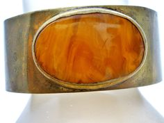 Wide Cuff Bracelet Brass & Bakelite by Trika
