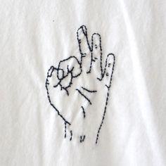 'Okay' Finger Embroidery TShirt                                                                                                                                                                                 More
