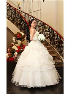 Modern Ball Gown Flowers Strapless Pick-ups Wedding Dress