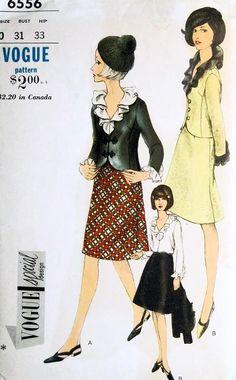 1960s Mod Suit Pattern Vogue Special Design 6556 Cutaway Front Jacket, A Line Skirt, Flattering Ruffled Blouse  UNCUT Bust 34