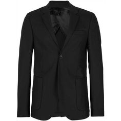TOPMAN Travel Series Black Skinny Fit Suit Jacket (€160) ❤ liked on Polyvore featuring men's fashion, men's clothing, men's suits, black, mens skinny suits, mens wool suits and mens skinny fit suits