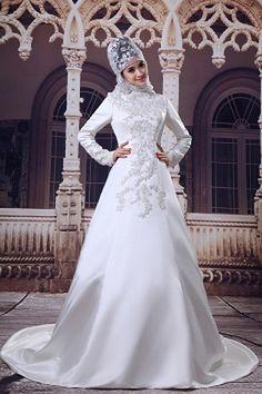 Flattering Long Sleeves High Collar A-line Floor Length Muslim Bridal Dresses Brush Train Muslim Wedding Dresses, Wedding Dresses 2014, Cheap Prom Dresses, Cheap Wedding Dress, Bridal Dresses, Prom Gowns, Formal Dresses, Silhouette, Bridal Hijab