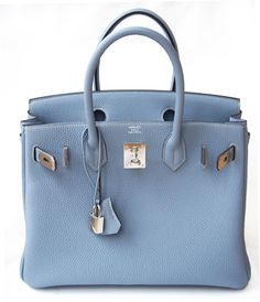 Hermes Birkin 30 Cm Blue Lin Togo Leather Bag | MALLERIES