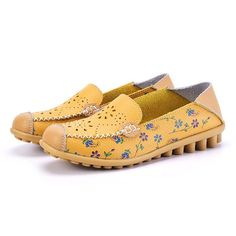 Floral Print Hollow Out Breathable Color Match Casual Slip On Flat Shoes