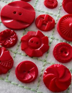 Fun vintage red plastic buttons