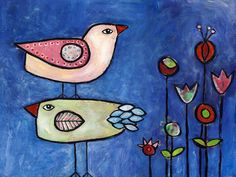 Two Birds  folk modern acrylic and mixed media by mishmishmarket, $24.00