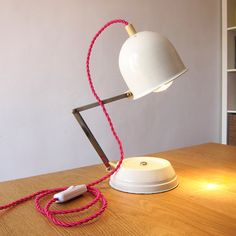 Large space age east germany ddr desk lamp re wired mid mid century restored atomic era table lamp re wired with new fuchsia twisted wire mozeypictures Choice Image