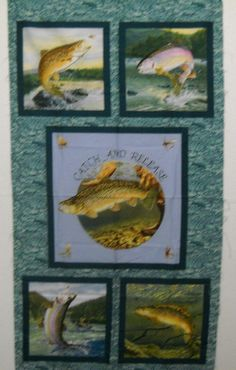 Catch And Release Al Agnew From Elizabeth's Studio Salmon Fish Fabric Panels FREE SHIPPING by SeaPillowTreasures on Etsy