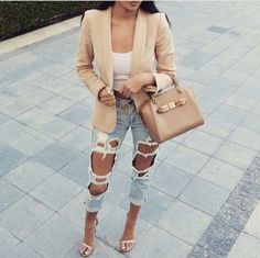 jacket light brown beige jacket blazer jeans light blue jeans