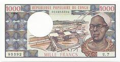1000 Francs CFA 1981 (afrikanisches Männerportrait) Republik Kongo Volksrepublik